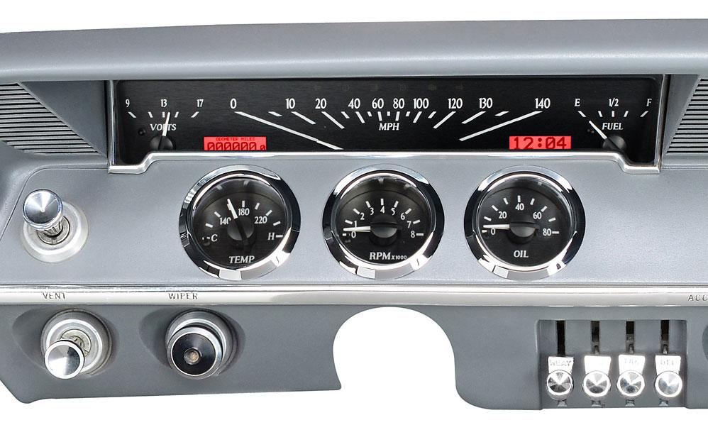 1961 62 chevy impala vhx instruments 1967 impala ss black alloy background, red lighting shown with oem dash trim bezel facia