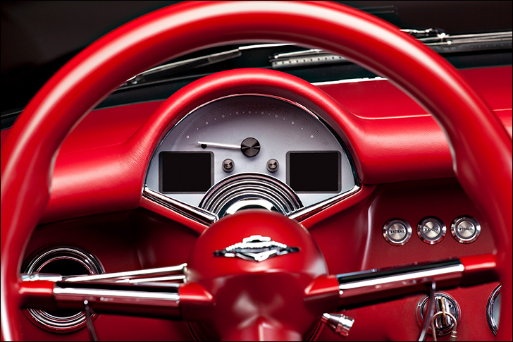 Kindig 56 Vette: bright red leather