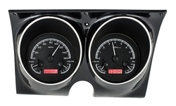 Black Alloy Background, Red Lighting shown with optional gauge carrier/ bezel.