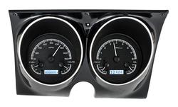 Black Alloy Background, White Lighting shown with optional gauge carrier/ bezel.