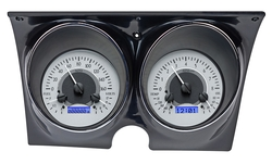 Silver Alloy Background, Blue Lighting shown with optional gauge carrier/ bezel.
