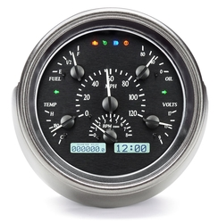 Black Alloy Background, White Lighting shown with OEM dash/ trim/ bezel/ facia and Indicators shown.