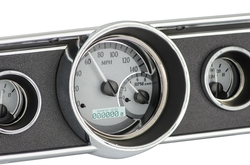 Silver Alloy Background, White Lighting shown with optional gauge carrier/ bezel.
