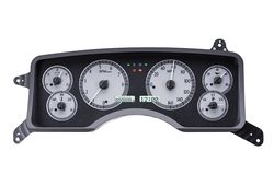 VHX-90F-MUS-S-W: Silver Alloy Background, White Lighting with indicators shown