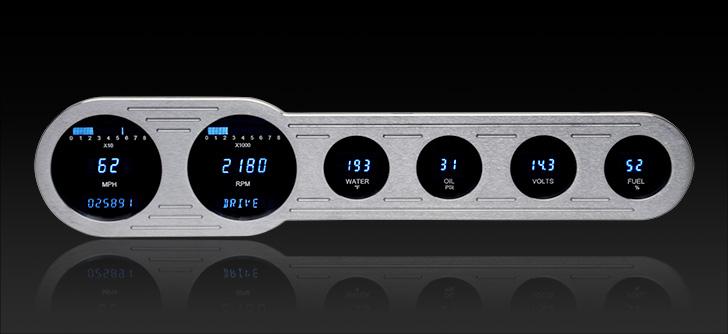 "VFD3-SIDE-6: Universal 4"" x 18"" Street Rod Panel, Digital Instrument"