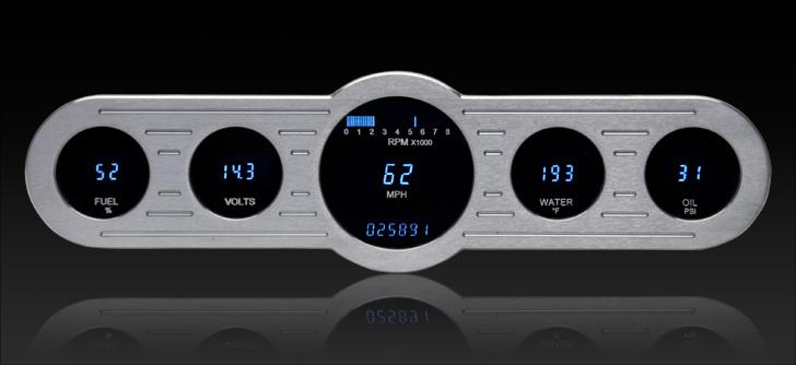 "VFD3-CNTR-5: Universal 4"" x 14.5"" Street Rod Panel, Digital Instrument"