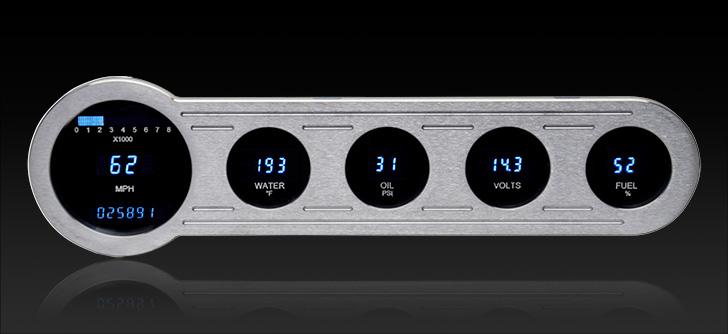 "VFD3-SIDE-5: Universal 4"" x 14.5"" Street Rod Panel, Digital Instrument"