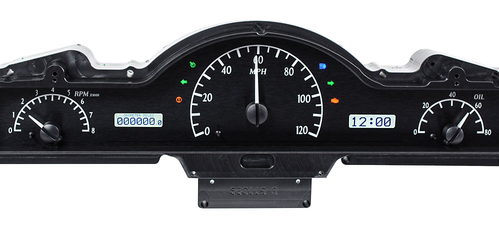 VHX-50M-K-W: Black Alloy Background, White Lighting with Indicators shown.