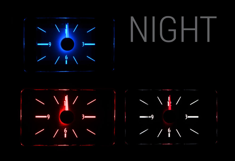 Choice of Blue, Red or White Lighting