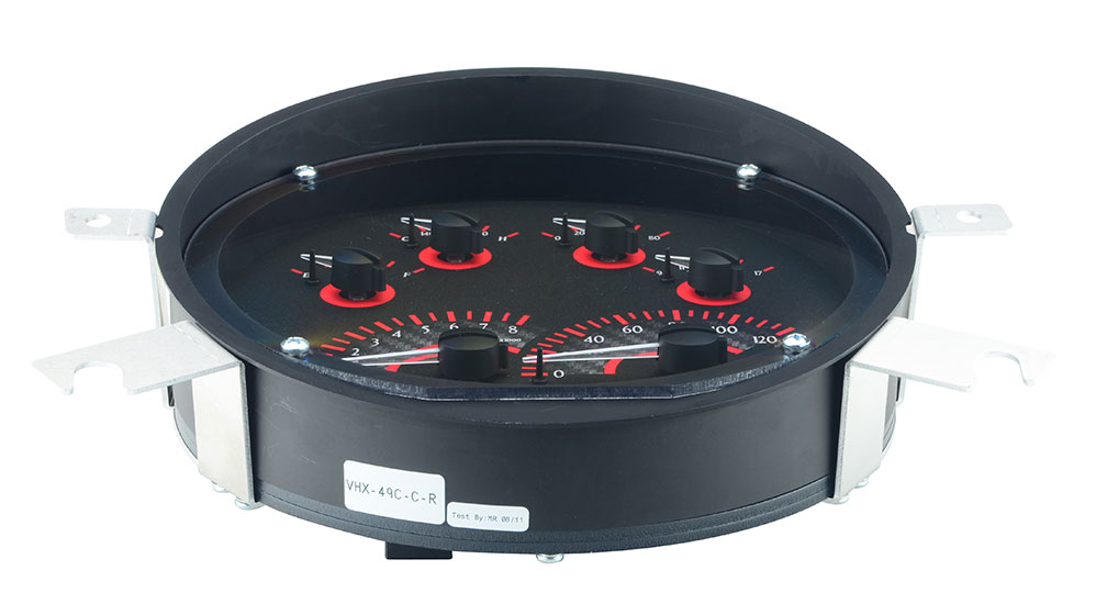 VHX-49C-C-R: Carbon Fiber Background, Red Lighting