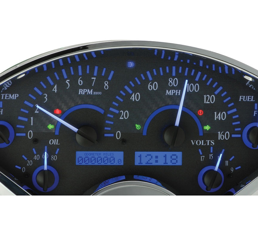 Carbon Fiber Background, Blue Lighting with Indicators shown