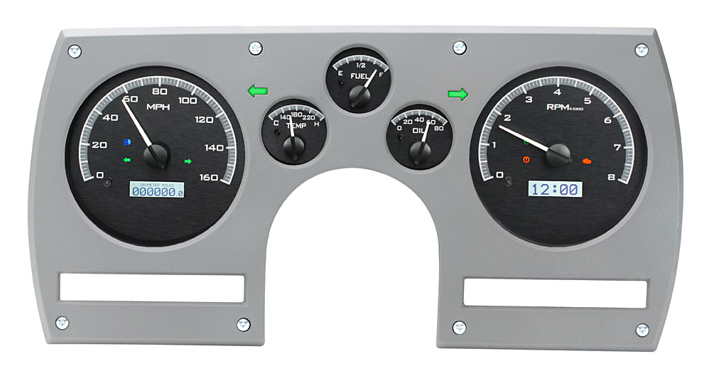Black Alloy Background, White Lighting, Indicators shown with OEM dash/ trim/ bezel/ facia.