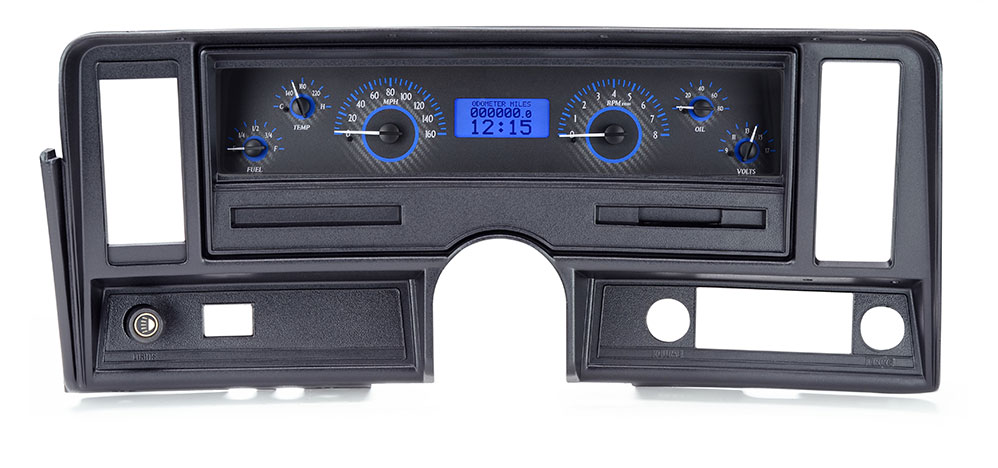 Carbon Fiber Background, Blue Lighting shown with OEM dash/ trim/ bezel/ facia.