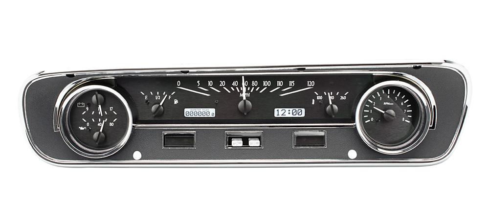 Black Alloy Background, White Lighting shown with OEM dash/ trim/ bezel/ facia.