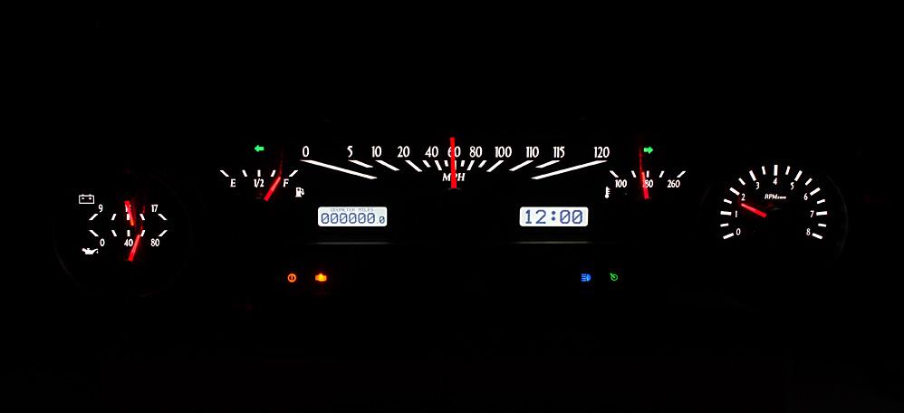 White Lighting at Night with Indicators shown.