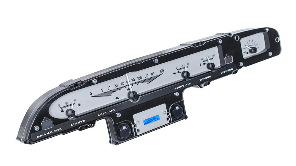 VHX-61F-GAL-S-B: Silver Alloy Background, Blue Lighting