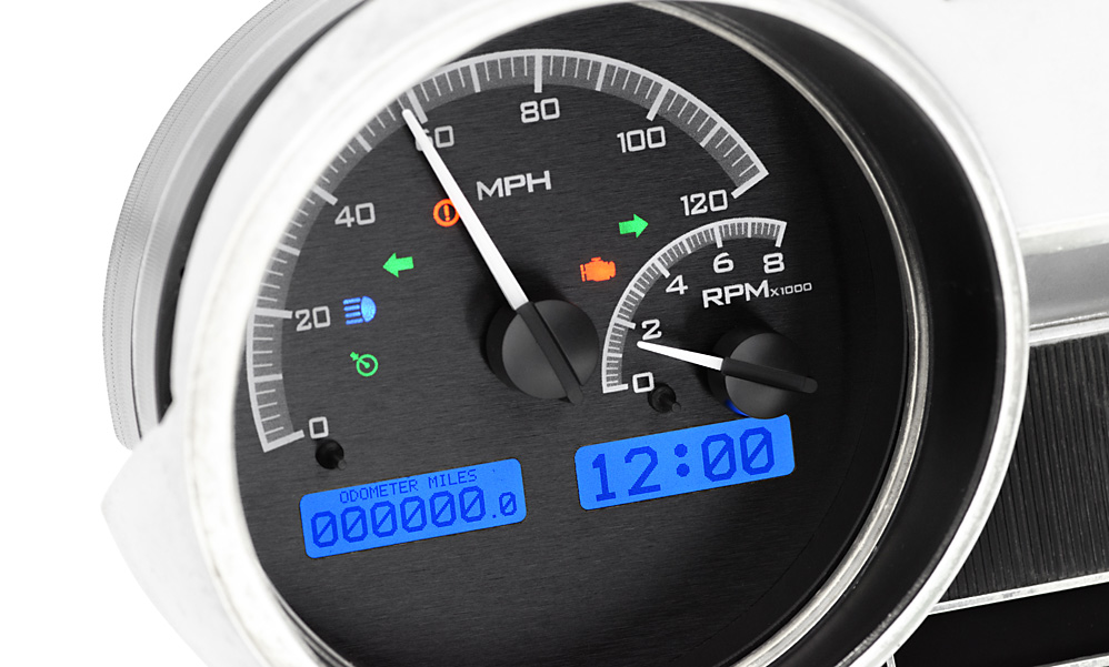 Black Alloy Background, Blue Lighting with Indicators shown in OEM dash/ trim/ bezel/ facia.