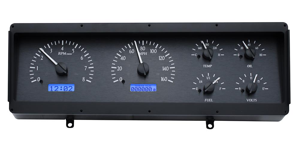 VHX-78o-CUT-K-B: Black Alloy Background, Blue Lighting