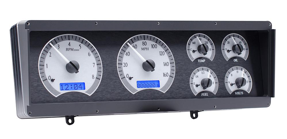 VHX-78o-CUT-S-B: Silver Alloy Background, Blue Lighting