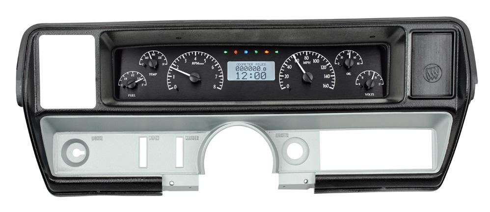 Black Alloy Background, White Lighting with Indicators shown in OEM dash/ trim/ bezel/ facia.