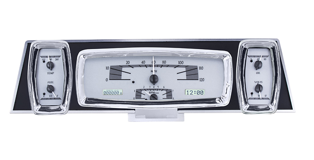 Silver Alloy Background, White Lighting shown with OEM dash/ trim/ bezel/ facia.