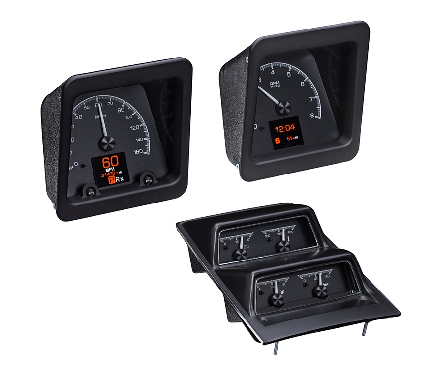 Black Alloy Background with OEM/ Stock console gauge bezel/ trim.