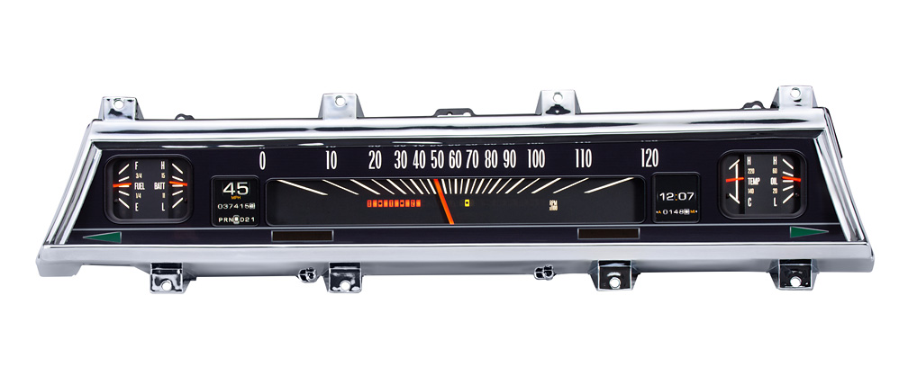 1966- 67 Styled Chevy Chevelle shown with optional gauge carrier/ bezel.