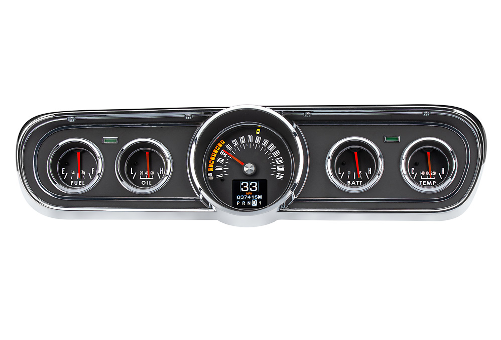 1965- 66 Ford Mustang gauges shown with optional gauge carrier/ bezel.