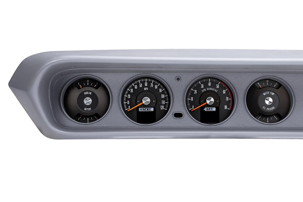 1964- 67 Pontiac GTO RTX gauges shown with OEM dash/ trim/ bezel/ facia.