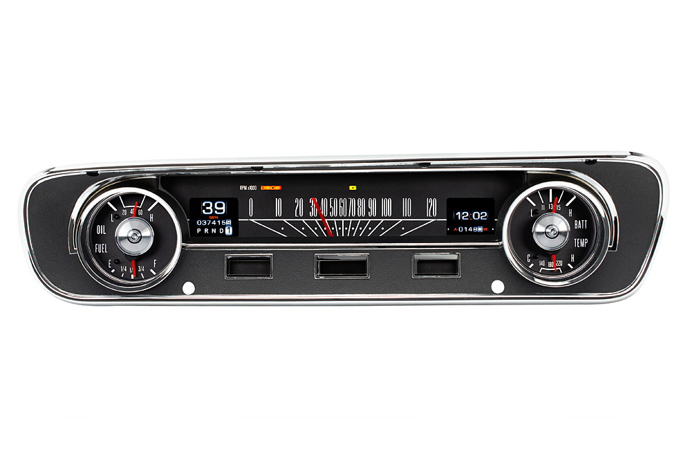 1964- 65 Ford Falcon, Ranchero and Mustang RTX Gauges shown with OEM dash/ trim/ bezel/ facia.