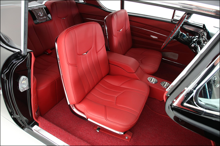 rmd garage '58 impala: spacious, red cabin