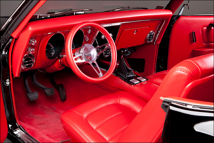 Kindig 68 Camaro: Bright Crimson Interior