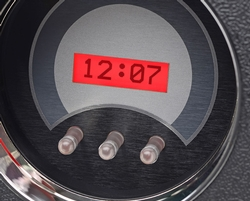 VHX-67C-PU: Clock Detail; Silver Alloy Background, Red Lighting