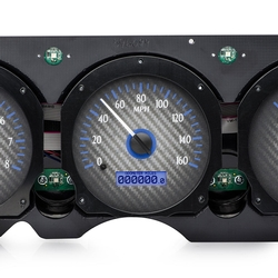 VHX-70C-CVL-C-B: Carbon Fiber Background, Blue Lighting, Speedometer Detail