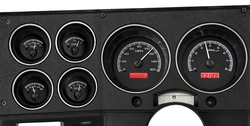Black Alloy Background, Red Lighting, shown with OEM dash/ trim/ bezel/ facia.