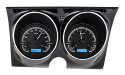 Black Alloy Background, Blue Lighting shown with optional gauge carrier/ bezel.