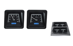Black Alloy Background, Blue Lighting, Accessory Gauges shown with OEM dash/ trim/ bezel/ facia.