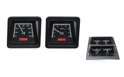 Black Alloy Background, Red Lighting, Accessory Gauges shown with OEM dash/ trim/ bezel/ facia.