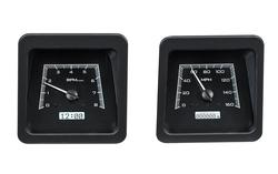VHX-69C-CAC-K-W: Black Alloy Background, White Lighting, Speedometer/ Tachometer Detail