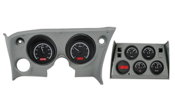 Black Alloy Background, Red Lighting shown with OEM dash/ trim/ bezel/ facia.