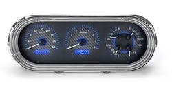 Carbon Fiber Background, Blue Lighting shown with optional gauge carrier/ bezel.