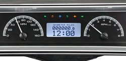 Black Alloy Background, White Lighting with Indicators and with optional gauge carrier/ bezel shown.