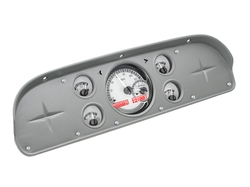 Silver Alloy Background, Red Lighting shown with OEM dash/ trim/ bezel/ facia.