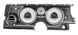Silver Alloy Background, White Lighting with Indicators shown in OEM dash/ trim/ bezel/ facia.