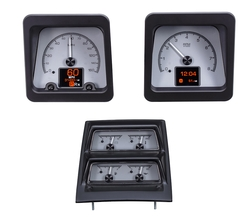 Silver Alloy Background with OEM/ Stock console gauge bezel/ trim.