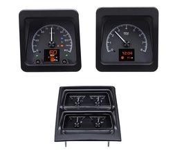 Black Alloy Background with indicators shown and with OEM/ Stock console gauge bezel/ trim.